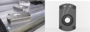 Formakövető hűtőkörrel ellátott szerszámbetét és CT felvétele ( 3D fémnyomtatás )
